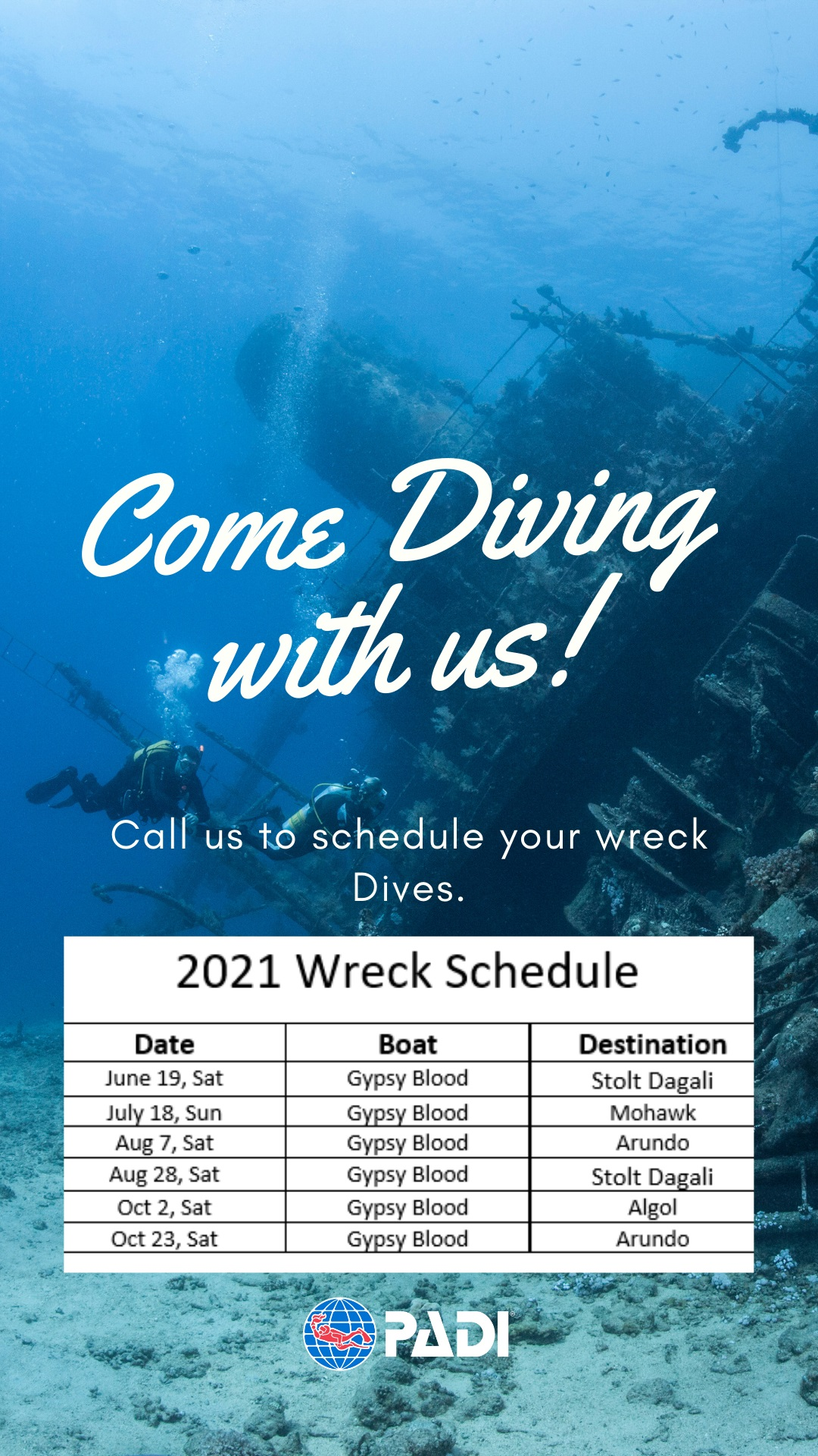 Reminder About Our Wreck Dives